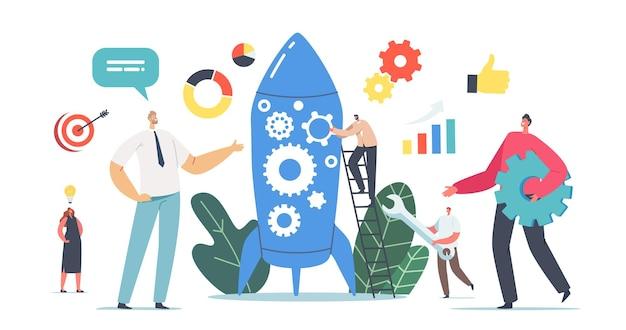 Nieuw teamlid nieuwkomerkarakter neem deel aan rocket launch, ondernemers lanceren startup business project. financiële idee planning, strategie en realisatie. cartoon mensen vectorillustratie