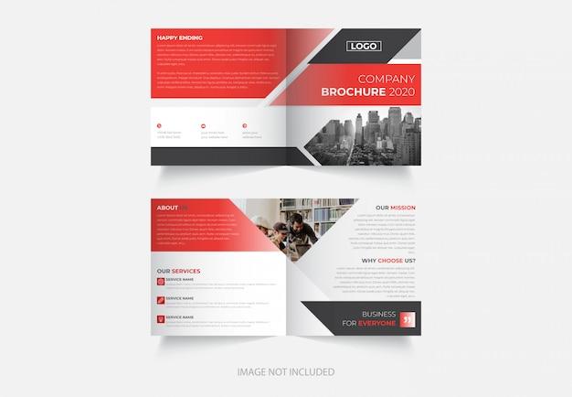 Nieuw zakelijk vierkant dubbelgevouwen brochureontwerp