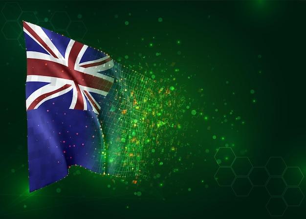 Nieuw-zeeland, 3d-vlag op groene achtergrond met polygonen