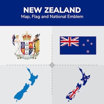 Nieuw-zeeland kaart, vlag en nationale embleem