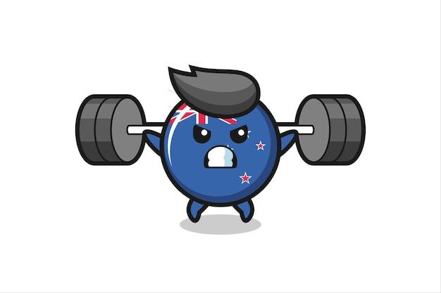 Nieuw-zeeland vlag badge mascotte cartoon met een barbell, schattig stijlontwerp voor t-shirt, sticker, logo-element