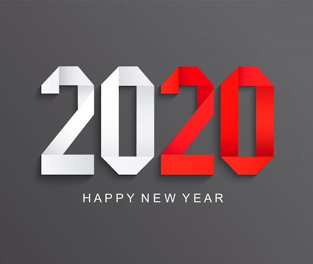 Nieuwe 2020 jaar papieren wenskaart