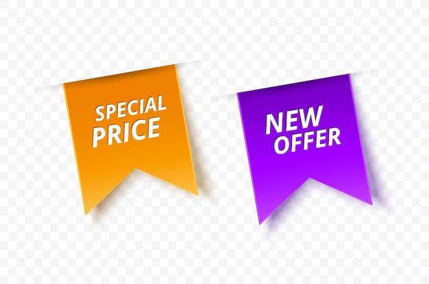 Nieuwe aanbieding en speciaal prijskaartje dat op witte vector vectorillustratie wordt geïsoleerd