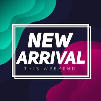 Nieuwe aankomst banner verkoop abstracte achtergrond
