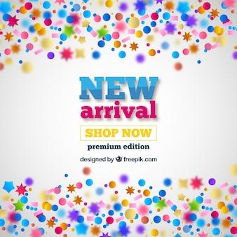 Nieuwe aankomst concept achtergrond met confetti