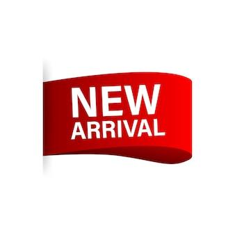 Nieuwe aankomst. informatieposterbrochure. promotie teken. banner promotie. stickerontwerp. aankondiging poster concept. vector stock illustratie