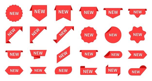 Nieuwe aankomst. rode productetiketten, kleinhandelsberichten. producttag, winkelpromotiebord. cirkelvorm en hoeken voor goederen vector stickers set. productwinkel, promotie nieuwe retail-tag illustratie