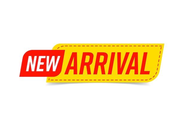 Nieuwe aankomst sticker badge sjabloon voor productaankondiging.