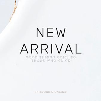 Nieuwe aankomst witte sjabloon