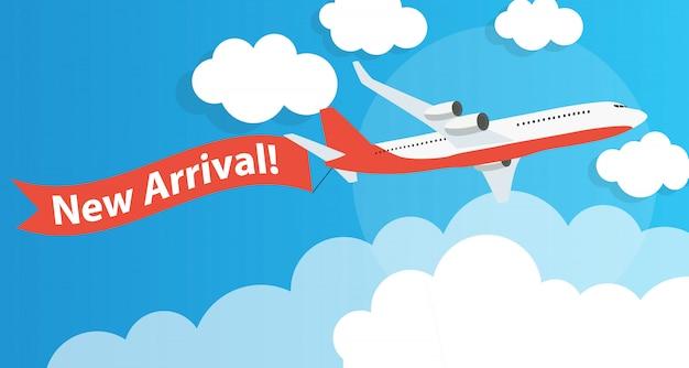 Nieuwe aankomstreclame met vliegtuig. vector illustratie