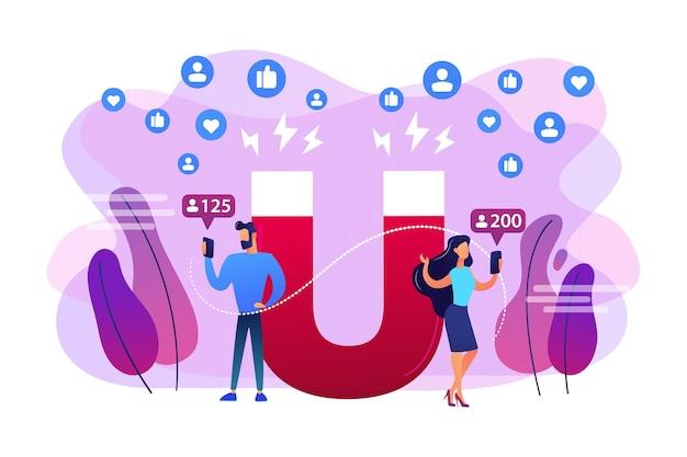 Nieuwe advertentiestrategie voor leads genereren. gericht op de doelgroep. volgelingen aantrekken, volg ons op sociale media, telconcept voor abonnees.
