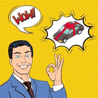 Nieuwe auto als cadeau, compositie met vrolijke man, bubbels, komische stijl