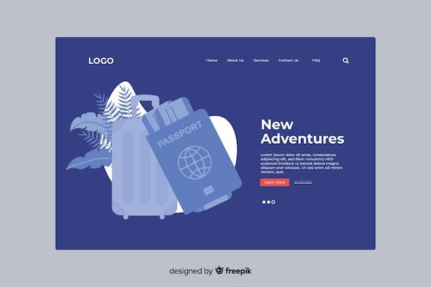 Nieuwe avonturen reislandingspagina