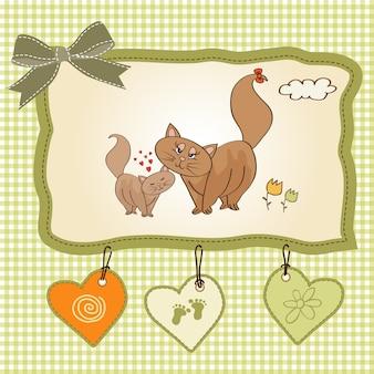 Nieuwe baby kitten met zijn moeder