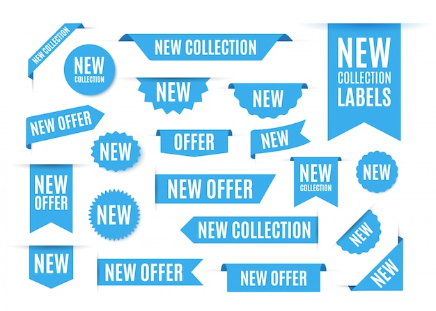 Nieuwe collectie aanbieding tags en labels.