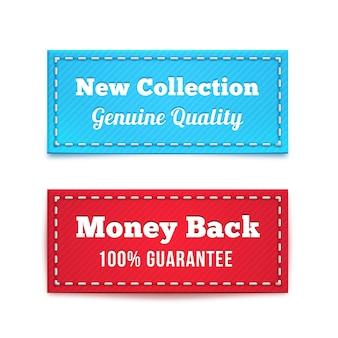 Nieuwe collectie en geld-terug-tag-badges in blauw en rood