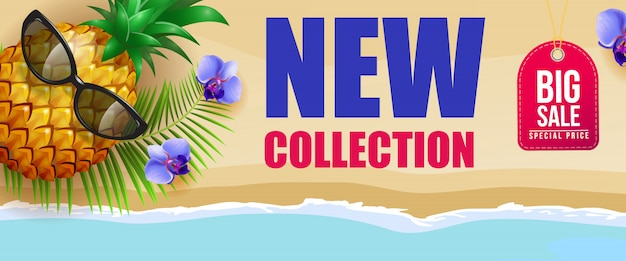 Nieuwe collectie, grote verkoopbanner met blauwe bloemen, ananas, zonnebril, palmblad