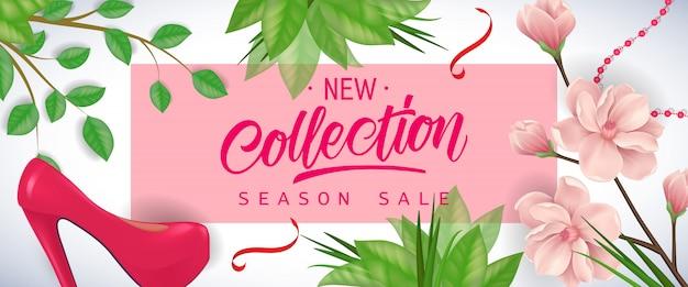 Nieuwe collectie seizoen verkoop belettering in roze frame met kersen bloemen, bladeren en schoenen