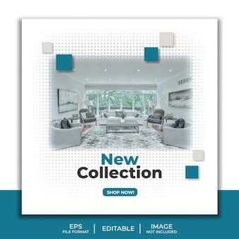 Nieuwe collectie social media postsjabloon, meubels interieur elegante woonkamer