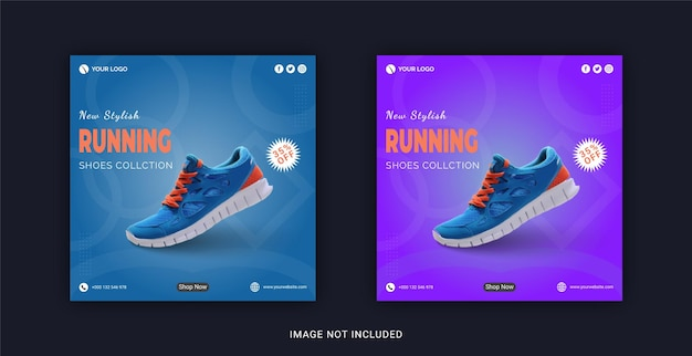 Nieuwe collectie stijlvolle hardloopschoenen instagram banner social media post