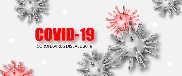 Nieuwe coronavirus covid-19. achtergrond met realistische virale cellen.