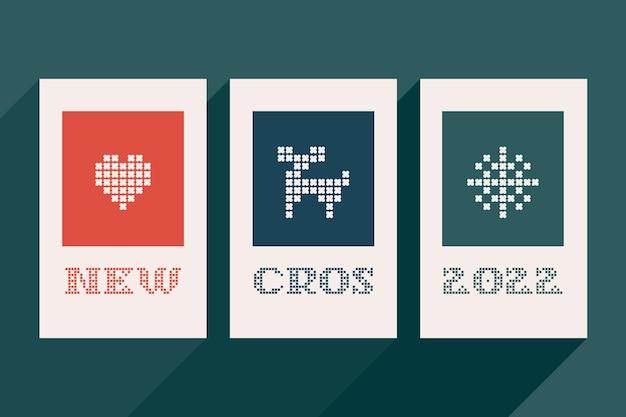 Nieuwe cros 2022-letters zijn gemaakt van dikke ronde breisels platte stijlbord met een set bonuspictogrammen