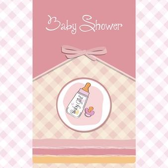 Nieuwe de aankondigingskaart van het babymeisje met melkfles en fopspeen