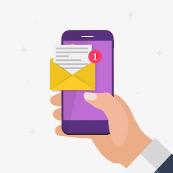 Nieuwe e-mail op het concept van het smartphonescherm. illustratie