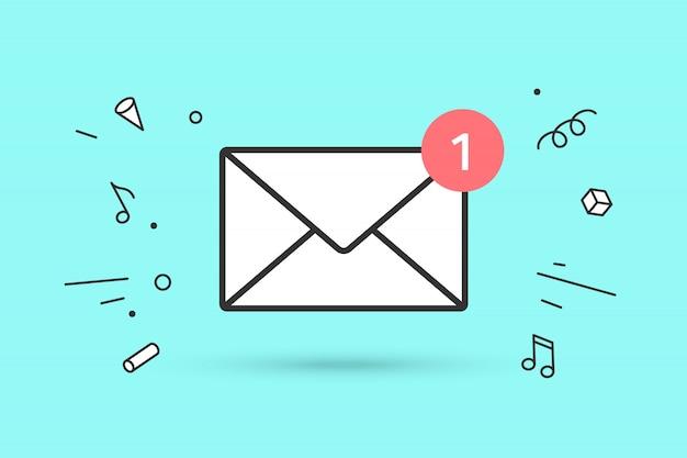 Nieuwe e-mailenvelop met rode markering eén bericht