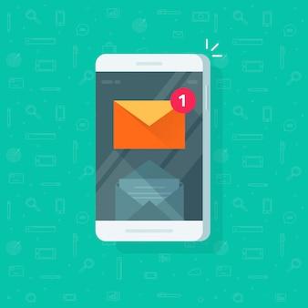 Nieuwe e-mailmelding op mobiele telefoon of mobiele telefoon illustratie platte cartoon