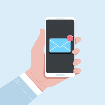 Nieuwe e-mailmelding op mobiele telefoon
