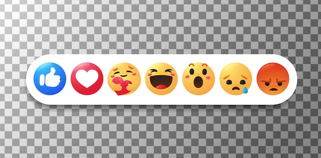 Nieuwe facebook-emoji de duim en het gezicht die emoties tonen terwijl ze voorzichtig knuffelen.
