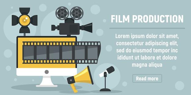 Nieuwe filmproductie banner, vlakke stijl