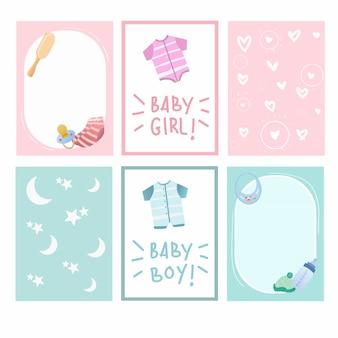 Nieuwe geboren baby en het ontwerp vectorinzameling van de babydouche leuke kaart.