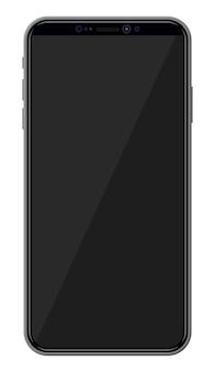 Nieuwe generatie smartphone met randloos randdisplay. leeg zwart scherm. telefoon elektronisch apparaat met touchscreen. vectorillustratie in vlakke stijl