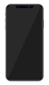 Nieuwe generatie smartphone met randloos randdisplay. leeg zwart scherm. telefoon elektronisch apparaat met touchscreen.
