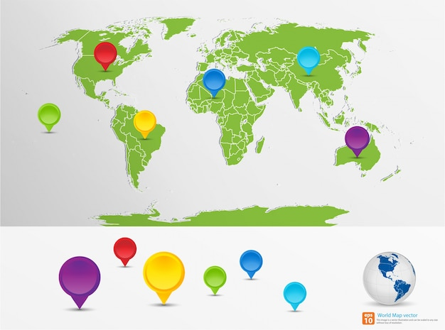 Nieuwe groene wereldkaart met pin marker locatie