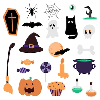 Nieuwe grote reeks elementen voor halloween. cartoon pictogrammen voor vakantie