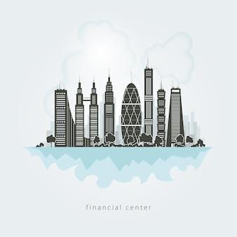 Nieuwe grote stad, architectuur megapolis, financieel centrum van de stad, gebouwen, wolkenkrabber vector illustration