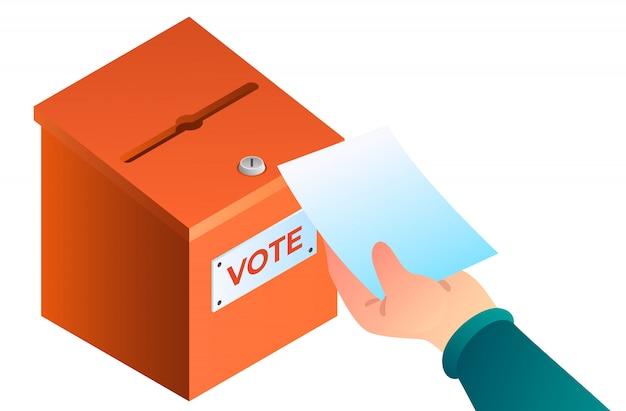 Nieuwe hand brengt stemming in het stembusconcept