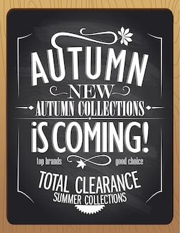 Nieuwe herfstcollecties komen eraan vector bannerontwerp schoolbordstijl