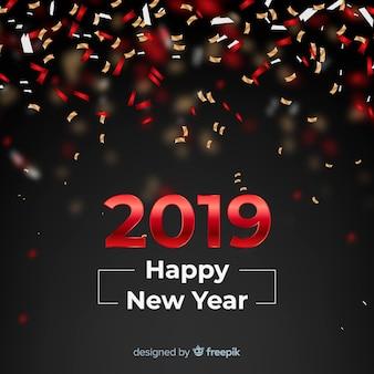 Nieuwe het jaar 2019 achtergrond van confettien