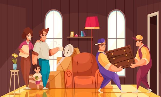 Nieuwe huiskamer interieur cartoon compositie met familie kijken naar verhuisbedrijf