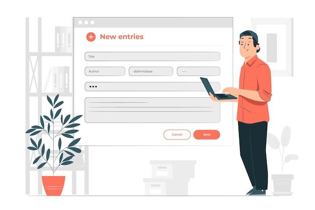 Nieuwe inzendingen concept illustratie