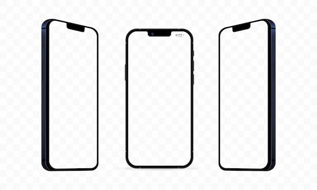 Nieuwe iphone 13, pro max, pro, mini. mock-up scherm iphone en achterkant iphone. vector illustratie. zaporizja, oekraïne - 15 september 2021