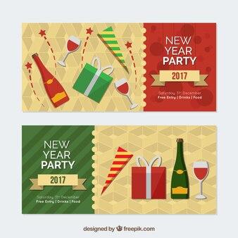 Nieuwe jaar 2017 partij banners
