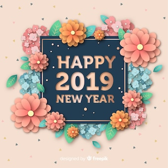 Nieuwe jaar 2019 achtergrond in papierstijl