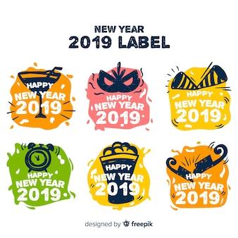 Nieuwe jaar 2019 labelcollectie