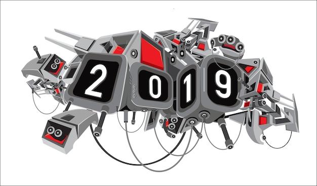 Nieuwe jaar 2019 tekst met digitale sc.i-fi robotachtige achtergrond