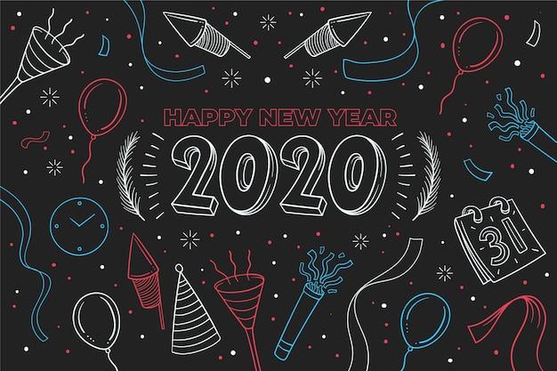 Nieuwe jaar 2020-achtergrond in overzichtsstijl